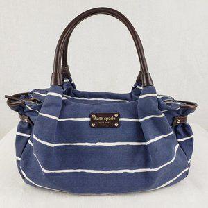 kate spade Stevie blue & white striped canvas bag